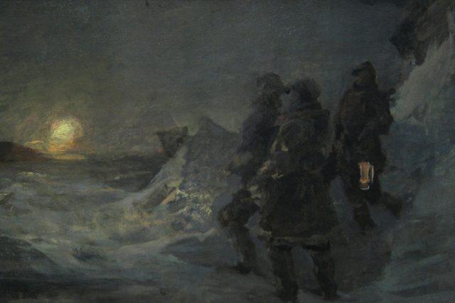 Julius Payer: Polární krajina se třemi muži | foto: Wikipedia,  public domain - volné dílo