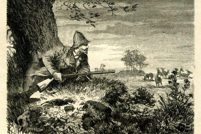 Emil Holub na lovu antilop. Ilustrace z prvního vydání cestopisu Sedm let v jižní Africe  (1880-81) | foto: licence Public Domain,  volné dílo