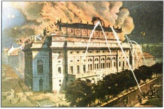 Požár Národního divadla na dobové kresbě   foto: Web Útvaru BOZP a PO VFN
