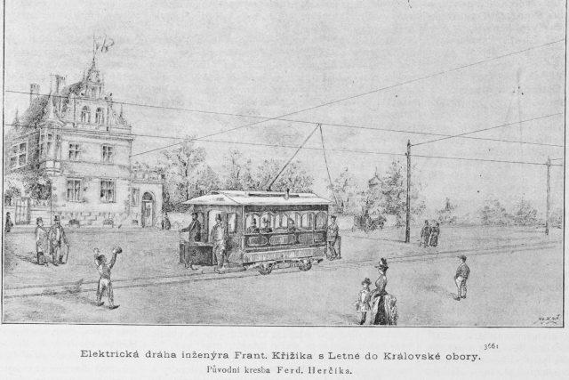 Křižíkova elektrická tramvajová trať postavená na Letné,  1891 | foto: Wikipedia,  public domain - volné dílo,  Ferdinand Herčík