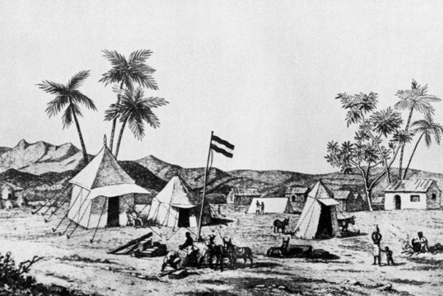 Tábor Steckerovy výpravy u Massawy  (Steckerova kresba) | foto:  Lidé a země