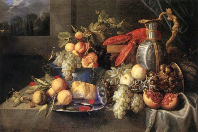 Alexander Coosemans: Ovocné zátiší s rakem a chlebem
