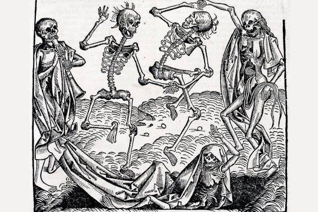 Tanec smrti  (1493) inspirovaný morovou epidemií   foto: licence Public Domain  (eng),  Michael Wolgemut