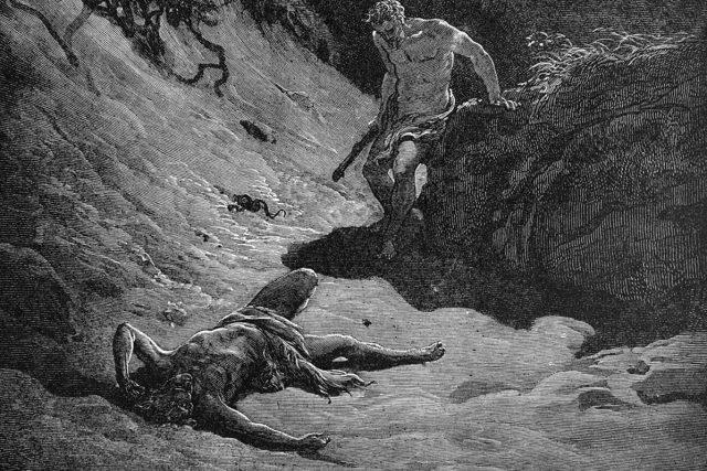 Kain zabíjí Abéla, detail, sken z holandské bible