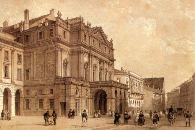 Milánské Teatro alla Scala v 19. století. | foto: Wikipedia,  public domain - volné dílo