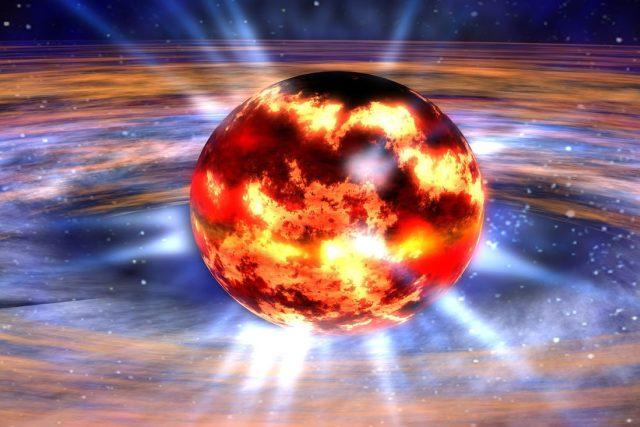 Jádro hvězdy se při výbuchu supernovy zhroutí do neutronové hvězdy