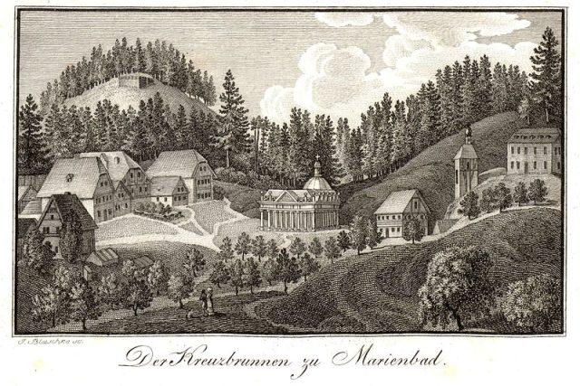 Pohled na Křížový pramen a první stavby v Mariánských Lázních  (1819) | foto: Wikipedia,  public domain - volné dílo