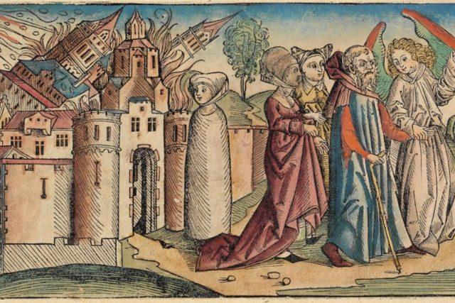 Lot opouští Sodomu  (ilustrace z roku 1493)   foto: Wikimedia,  public domain