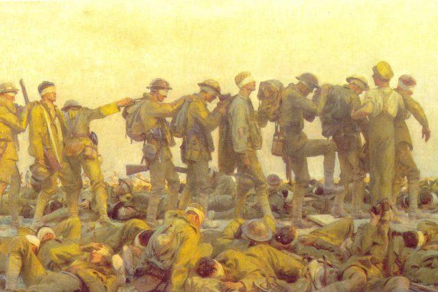 John Singer Sargent: Vojáci zasažení yperitem  (Gassed). Detail obrazu z roku 1918   foto: Wikipedia,  public domain - volné dílo