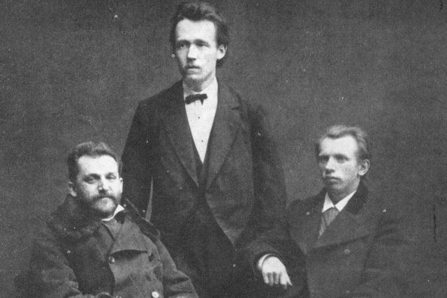 Josef Václav Sládek s přáteli v roce 1878 (vlevo Julius Zeyer, vpravo Jaroslav Vrchlický)