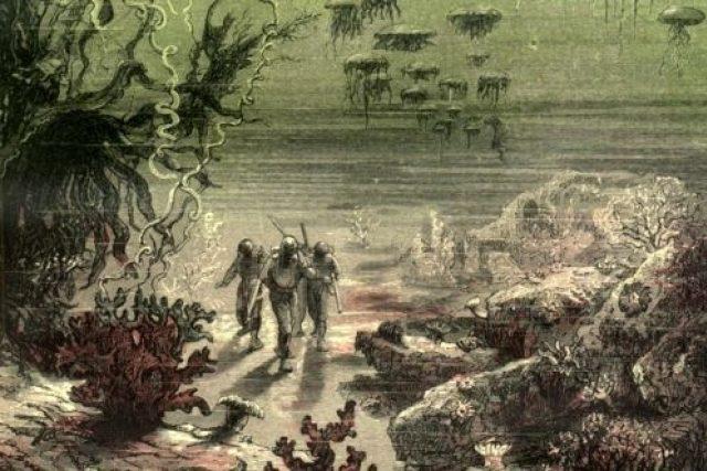 Původní ilustrace Alphonse de Neuvillea a Édouarda Rioua k Dvaceti tisícům mil pod mořem od Julese Vernea