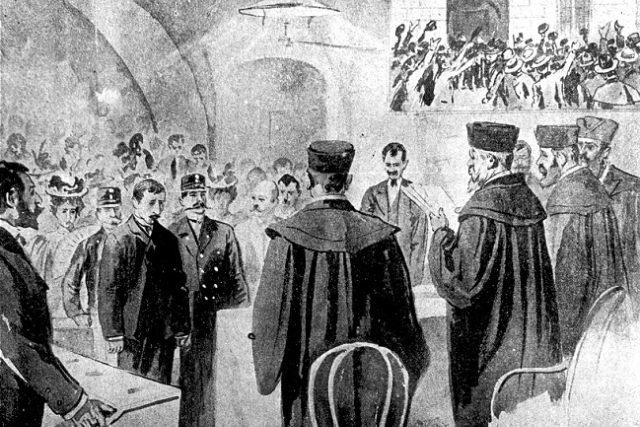 Vynesení rozsudku nad Leopoldem Hilsnerem v Kutné Hoře,  1899   foto: Klub Za historickou Polnou
