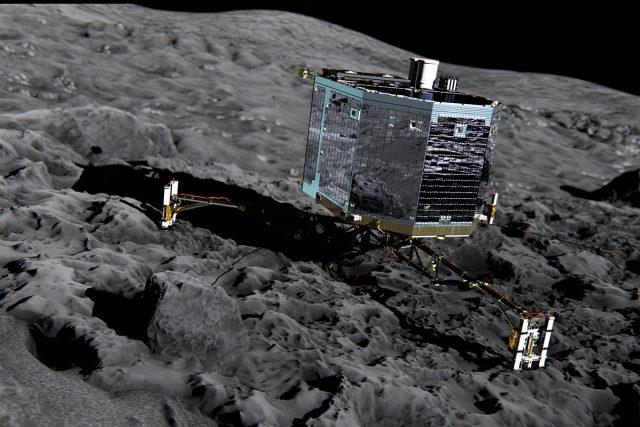 Průzkumný modul Philae na kometě 67P/Čurjumov-Gerasimenko   foto: ESA/ATG medialab