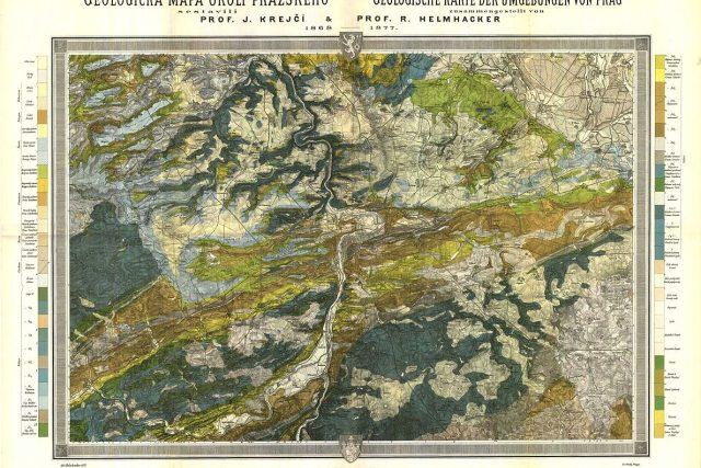Geologická mapa okolí pražského  (1877,  Jan Krejčí a Rudolf Helmhacker) | foto: Wikipedia,  public domain - volné dílo