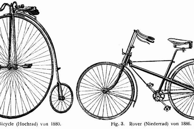 Obrázek z technického slovníku z roku 1904 ukazuje rozdíl mezi vysokým a bezpečným kolem | foto: Wikipedia,  public domain - volné dílo