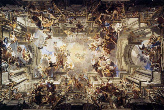 Andrea Pozzo: Alegorie jezuitské misijní práce,  mezi 1691 a 1694 | foto: Wikimedia Commons,  Public domain,   Sant'Ignazio,  Řím