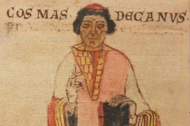 Kronikář Kosmas na vyobrazení v Lipském rukopisu jeho Kroniky české
