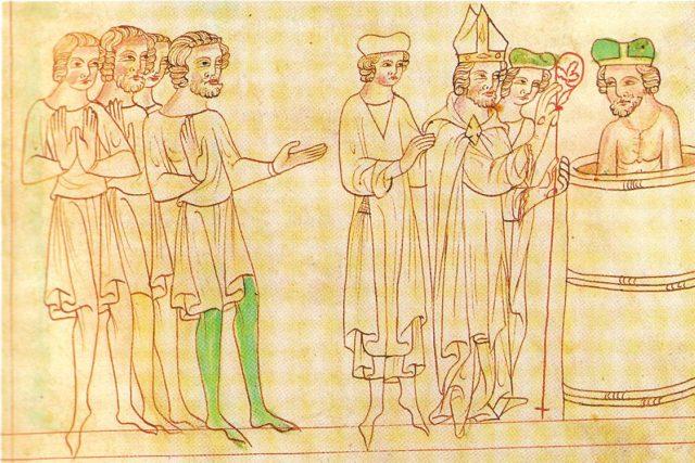 Křest knížete Bořivoje I. na vyobrazení z Velislavovy bible ze 14. století