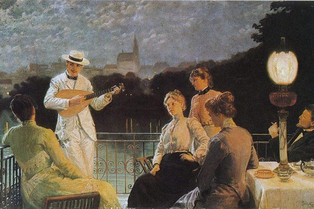 Společnost na terase  (1887) | foto: Jakub Schikaneder,  Středočeská galerie v Praze