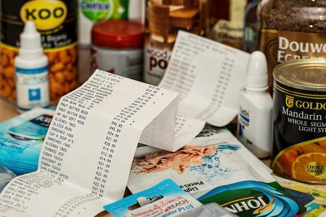 nakupování, nákup, účtenka, zboží, v obchodě, shopping, jídlo