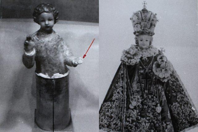Vlevo pohled na Pražské Jezulátko bez šatů (poškozené prsty levé ruky). Vpravo fotografie Pražského Jezulátka v původním stavu