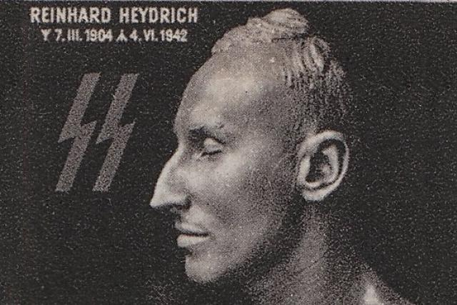 Reinhard Heydrich na výřezu z protektorátní známky