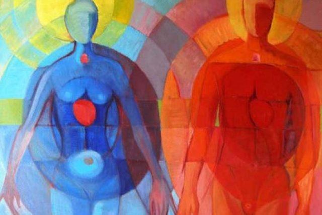 Miluše Poupětová: Adam a Eva (olej na plátně 100 x 120cm, 2008, výřez)