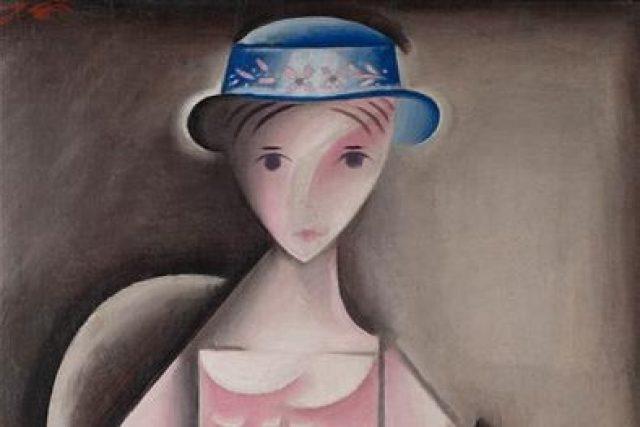 Josef Čapek: Děvče v růžových šatech (výřez z obrazu, 1916)