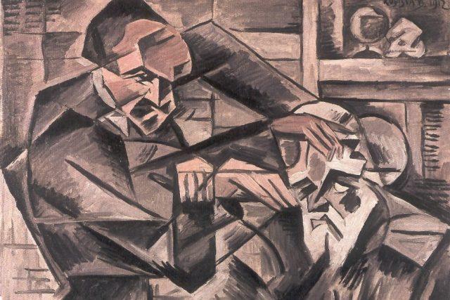 Bohumil Kubišta: Hypnotizér  (olej na plátně,  30, 5 x 58 cm,  1912 - výřez)   foto: Wikimedia Commons,  Public domain,  Bohumil Kubišta