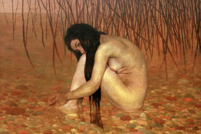 Felix Vallotton: Koupel v rákosí (98 x 130 cm, 1895 - výřez)