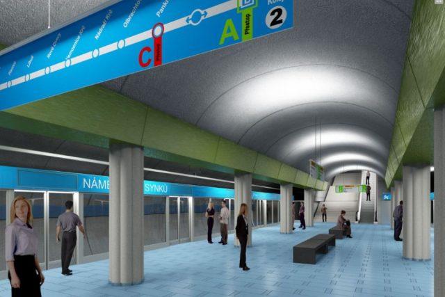 Vizualizace stanice metra Náměstí bratří Synků na trase D