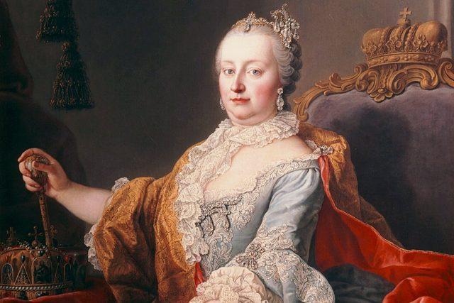 Martin van Meytens: Císařovna Marie Terezie (olej na plátně, výřez, 1759)
