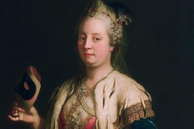 Martin van Meytens: Marie Terezie s Maskou | foto: Public domain,  Wikimedia Commons,  Martin van Meytens