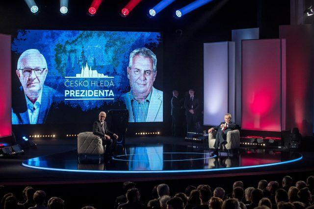 Česko hledá prezidenta: Jiří Drahoš a Miloš Zeman v debatě na TV Prima | foto: Fotobanka Profimedia