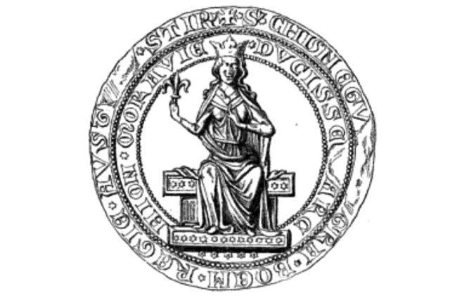 Kunhuta Uherská; pečeť královny české, rakouské, štýrské, korutanské a kraňské vévodkyně z rodu Rurikovců
