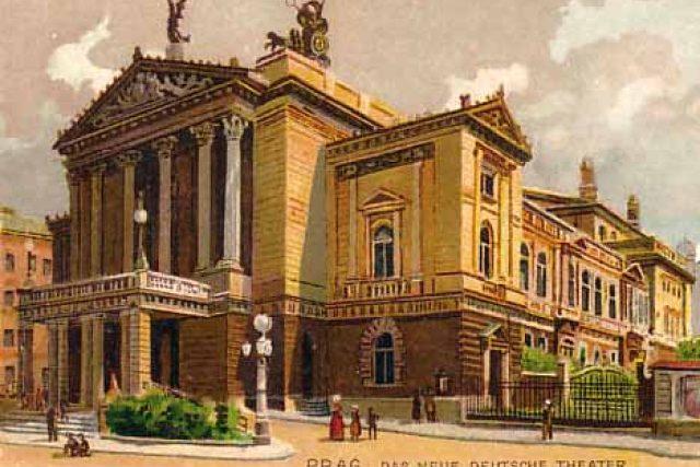 """""""Praha: Nové německé divadlo,"""" hlásá nápis na dobové pohlednici z roku cca 1900"""