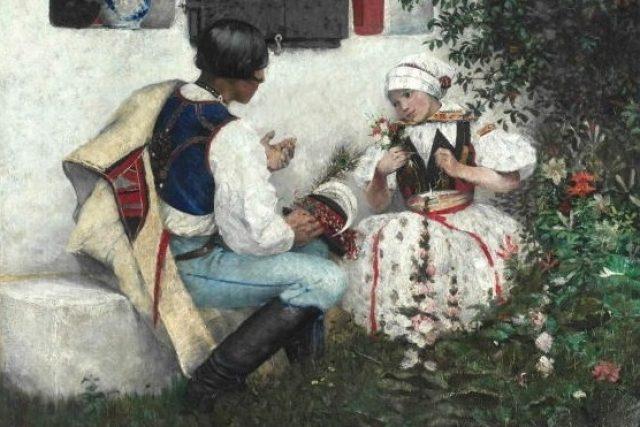 Joža Uprka: Pro pérečko (olej na plátně 67 x 80 cm, 1888)
