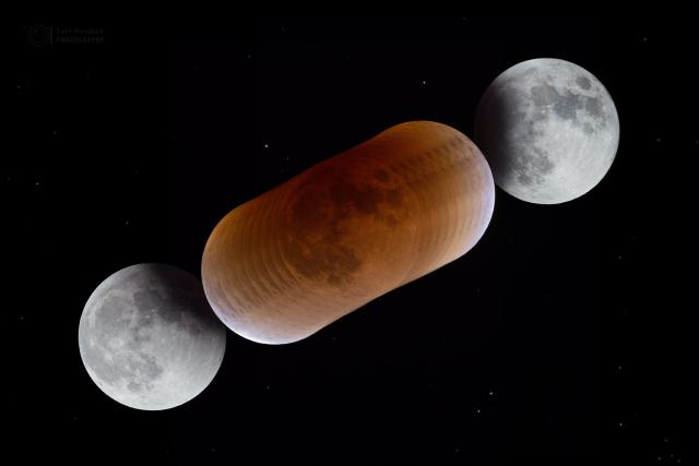 Průběh zatmění Měsíce a barev v zemském stínu zachycených  během úkazu 31. ledna 2018.