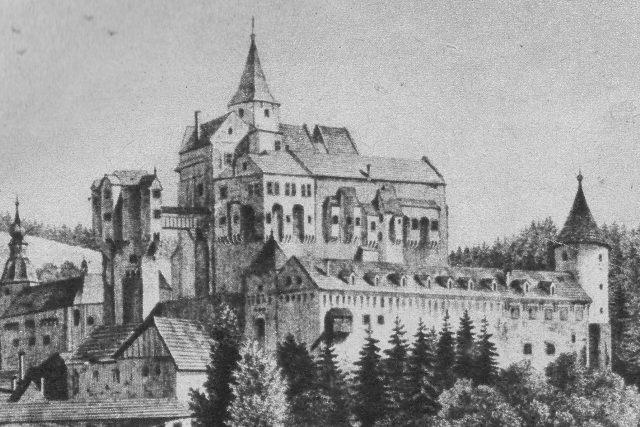 Rytina Pernštejna z třicátých let 19. století,  jejímž autorem je Adolph Kunike | foto: Adolph Kunike,  Wikimedia Commons,  CC0 1.0