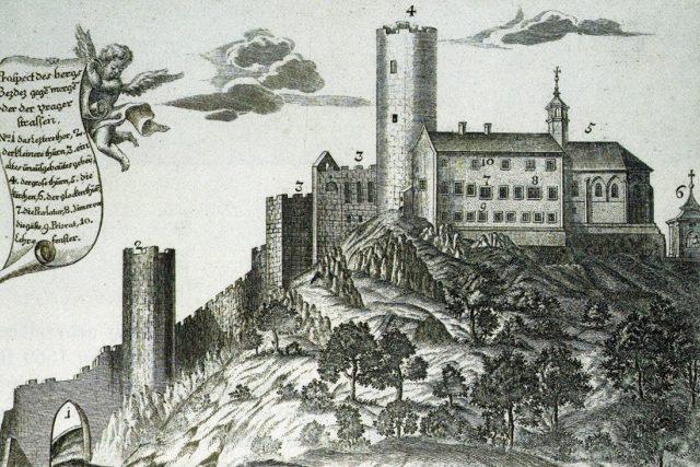Hrad Bezděz; založen v roce 1264 Přemyslem Otakarem II..  | foto: Johann Georg Lehr,  Národní muzeum