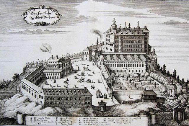Zámek Ambras | foto: Matthäus Merian,  Wikimedia Commons,  CC0 1.0