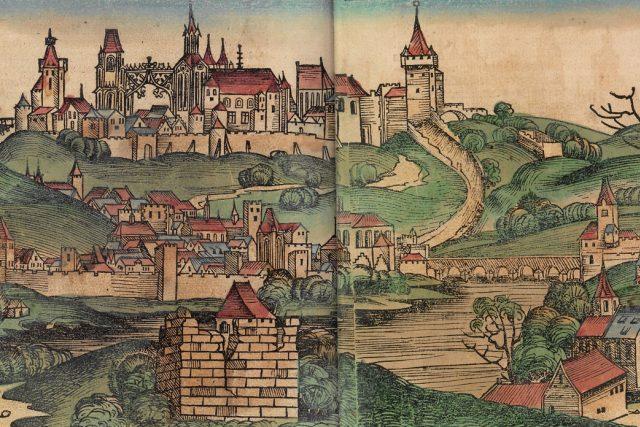 Pohled na Prahu, dřevořez (1493)