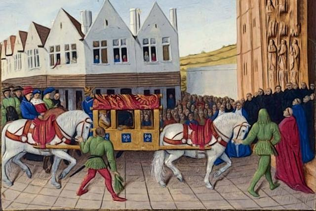 Příjezd Karla IV. do Saint-Denis   foto: Jean Fouquet,  Wikimedia Commons,  Francouzská národní knihovna,  CC0 1.0