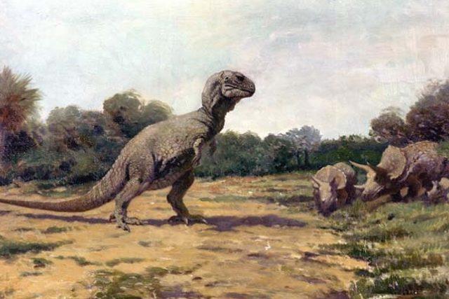 Tyrannosaurus Rex podle prvotních představ vědců (kolem roku 1919). Dnes se jeho obrázek liší