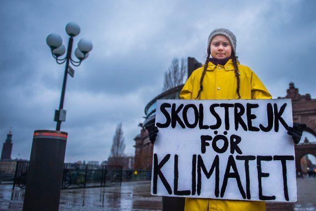 Patnáctiletá Švédka Greta Thunbergová protestuje před švédským parlamentem proti změně klimatu.