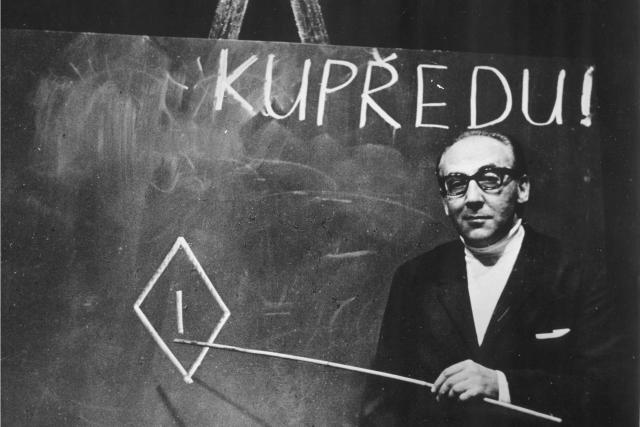 Miloš Kopecký v inscenaci Ptákovina, Divadlo Na zábradlí, 1969