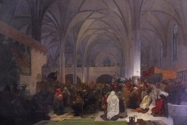 Alfons Mucha: Kázání mistra Jana Husa v kapli Betlémské | foto: Wikimedia Commons