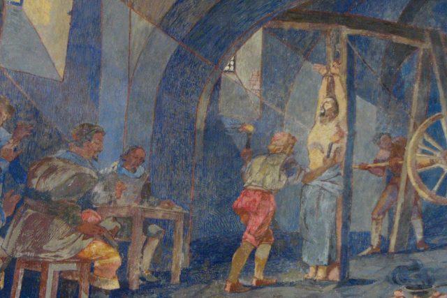 Freska znázorňující mučení Jana Sarkandera v Holešově