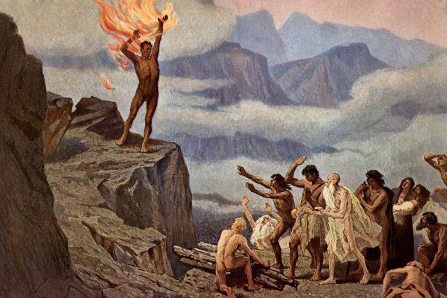 Hugo Vogel: Prometheus přináší lidem oheň