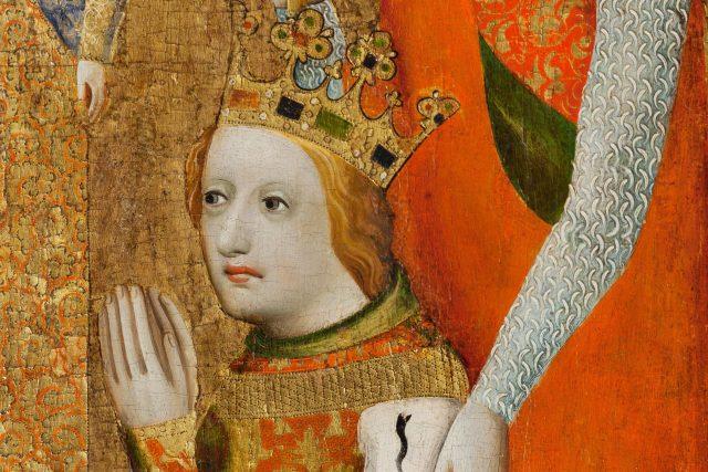 Václav IV. na votivním obrazu Jana Očka z Vlašimi  (výřez)   foto: Mistr Theodorik,  Wikimedia Commons,  CC0 1.0